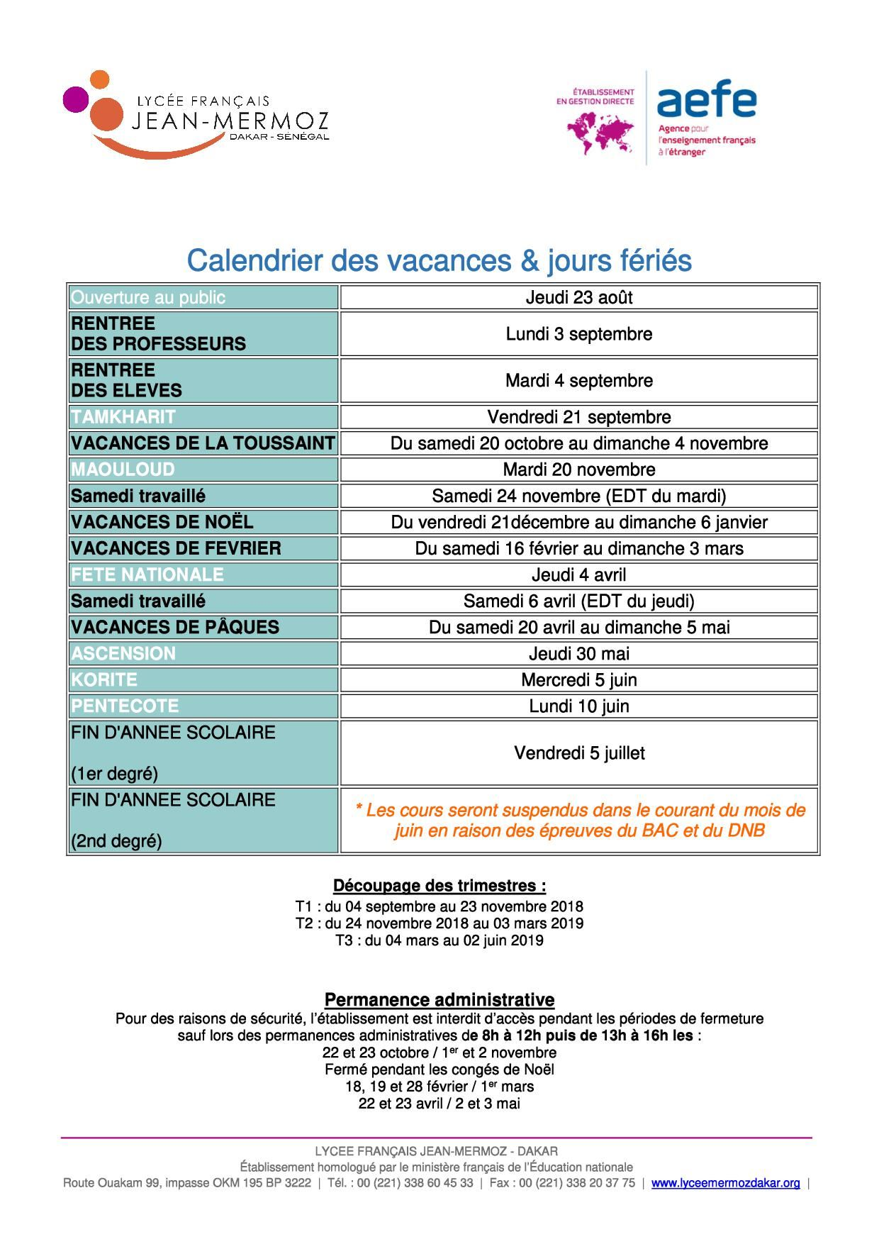 Lycee Jean Mermoz Calendrier Scolaire