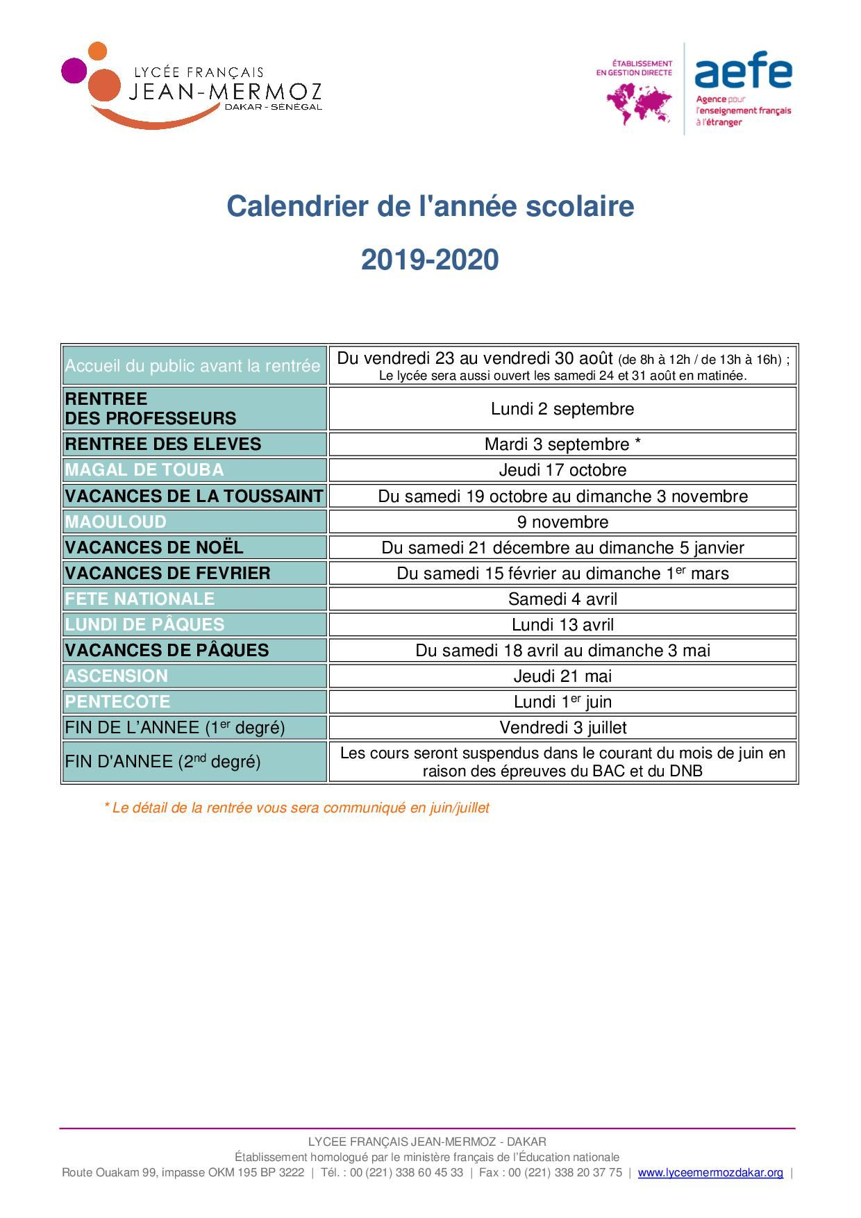 Calendrier Temps Course.Lycee Jean Mermoz Calendrier Scolaire